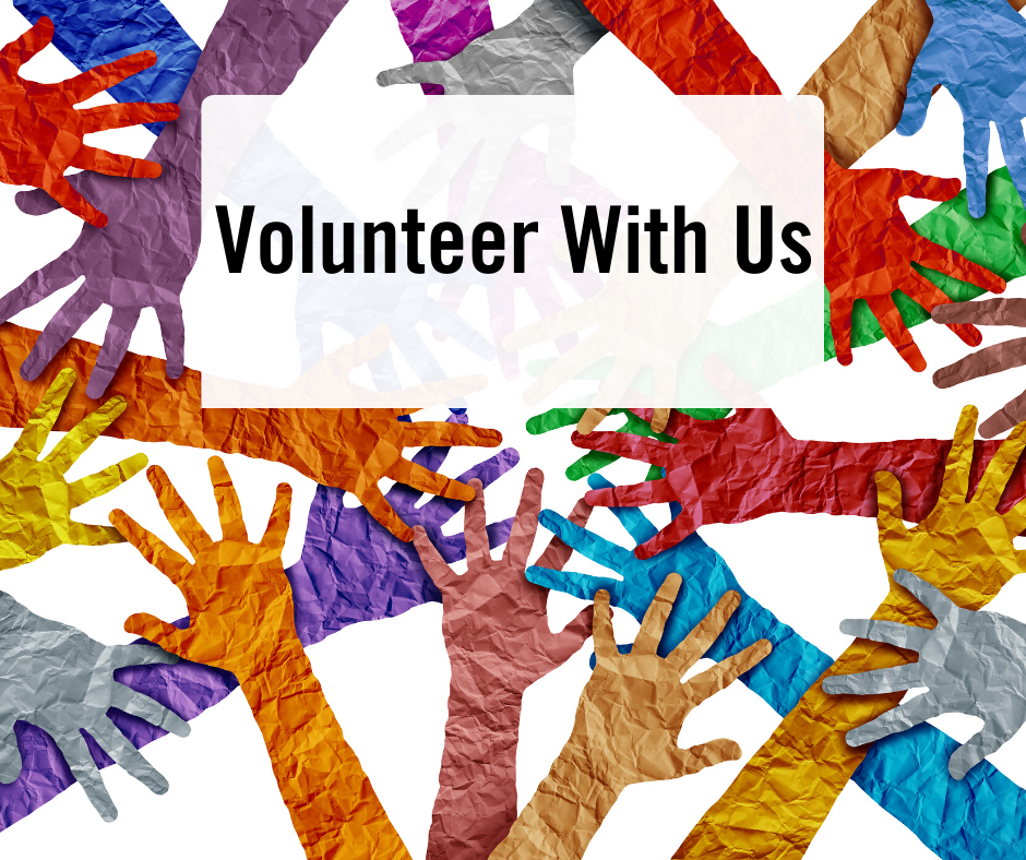 Multi-coloured paper hands and words Volunteer with us