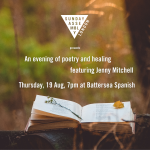 Picture of a book in the countryside, the Sunday Assembly London logo and the text, And evening of poetry and healing with Jenny Mitchell